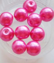 Pearl Glass Beads 8mm. Fuschia x 10